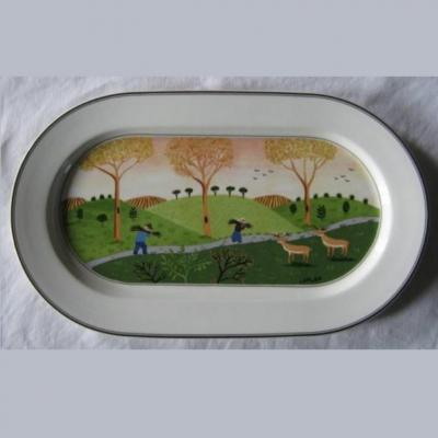 Plat ovale porcelaine de Villeroy et Boch Laplau design naif