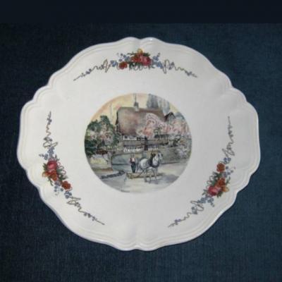 Ancien plat à gâteaux Obernai Sarreguemines H Loux
