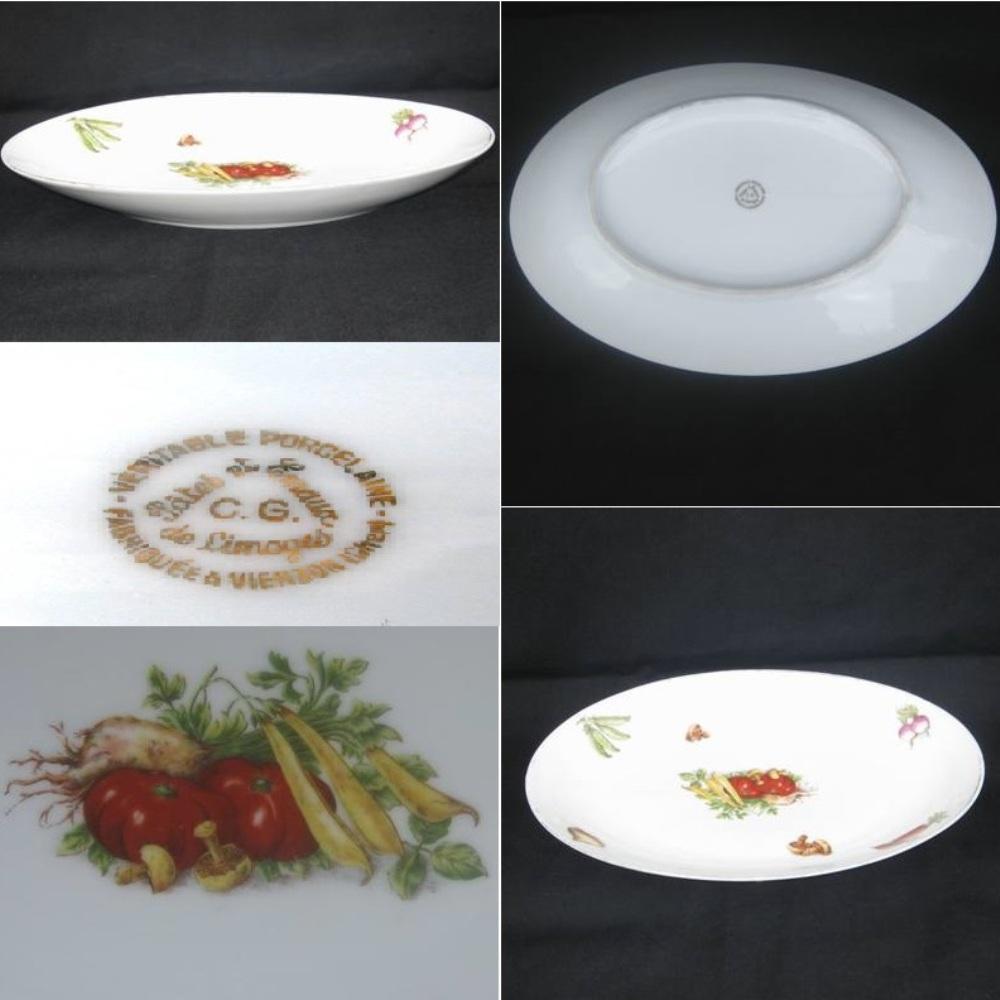 Plat plat limoges decor legumes 2