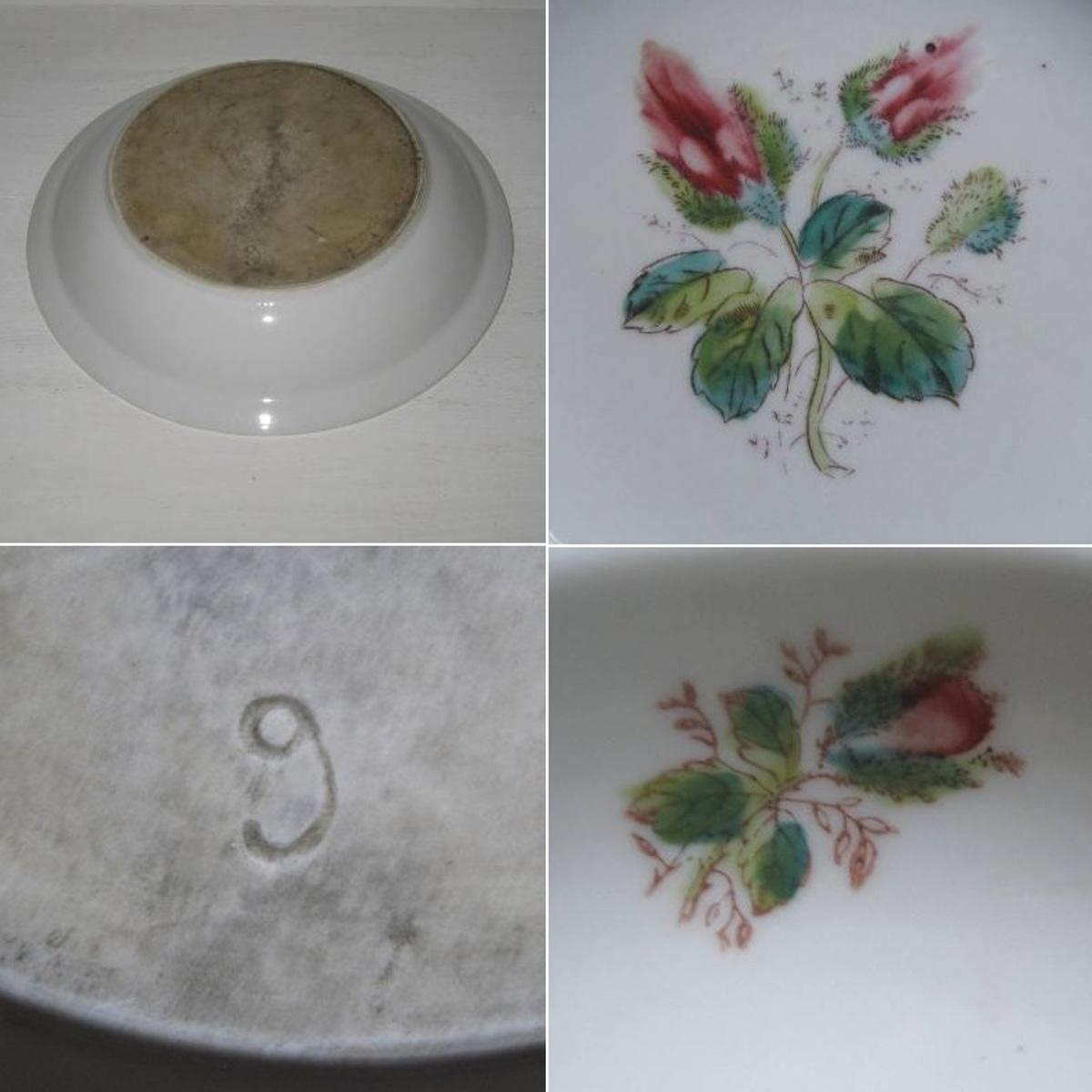 Plat rond creux decor roses boutons 2