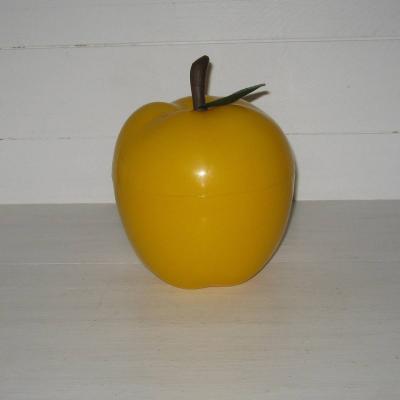 Seau à glace glaçons pomme jaune plastique vintage seventies sixties