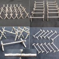 Porte couteaux anciens en metal argente facon bambou 2