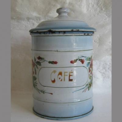 Pot à épices en tôle émaillée Café décor pensées Japy