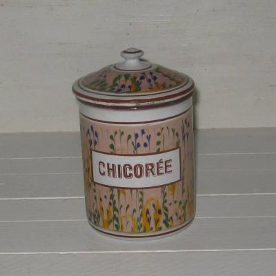 Ancien pot à épices en tôle émaillée CHICORÉE modèle 17951 BB