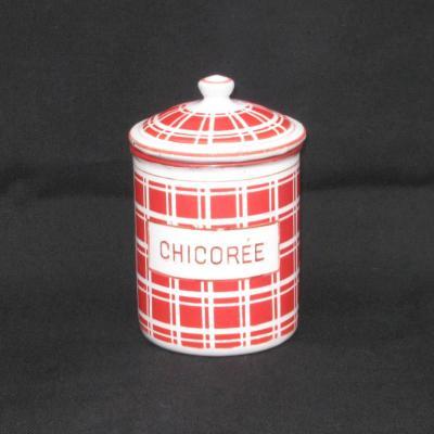 Ancien pot à épices en tôle émaillée CHICORÉE modèle BB 18193 décor torchon carreaux rouges et blancs
