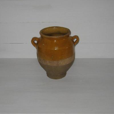 Poterie pot à graisse XIXème grès du sud en terre cuite vernissée jaune