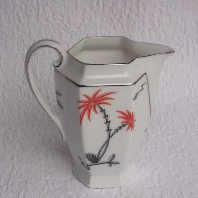 Ancien pot à lait en porcelaine Epiag Czéchoslovakia décor palmiers