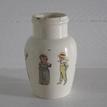 Ancien pot à moutarde en faïence à décor d'enfants et de jouets