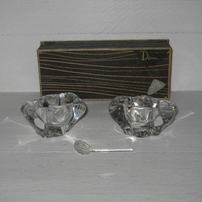 Ancien coffret  salerons et cuillère en cristal de Daum France