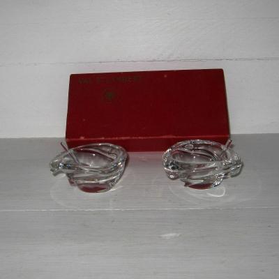 Ancien coffret salerons et cuillères en cristal de Val St Lambert