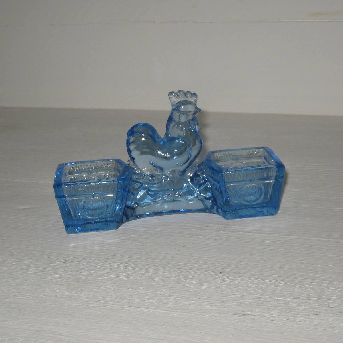 Saliere poivriere verre bleu prise coq poule 1