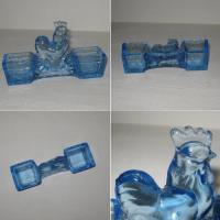 Saliere poivriere verre bleu prise coq poule 2