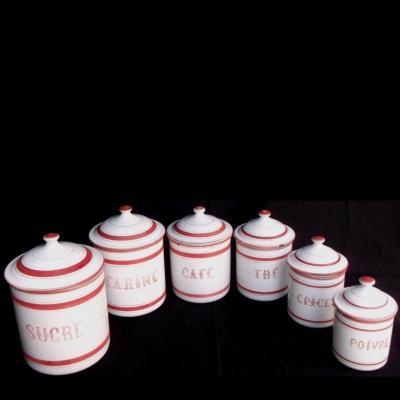Ancienne série à épices en tôle émaillée rouge et blanche (complète 6 pots)