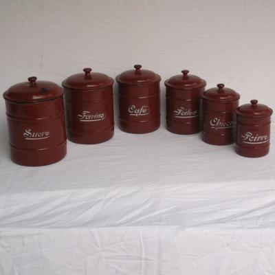Ancienne série à épices en tôle émaillée marron (complète 6 pots)