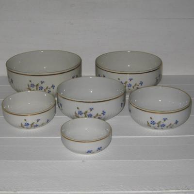 Série de six saladiers en porcelaine blanche PL France décor barbeaux