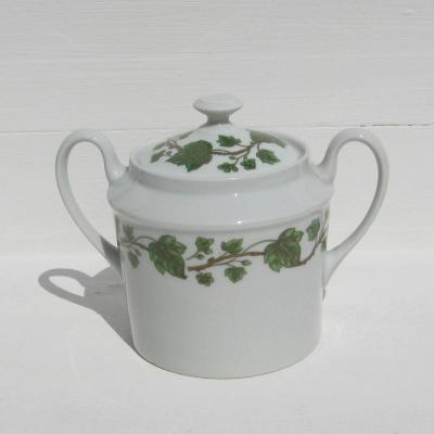 Bonbonnière sucrier en porcelaine de Paris Limoges France décor lierre
