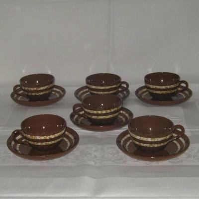 Six anciennes tasses et sous tasses Digoin Sarreguemines modèle Mary (lot 1)