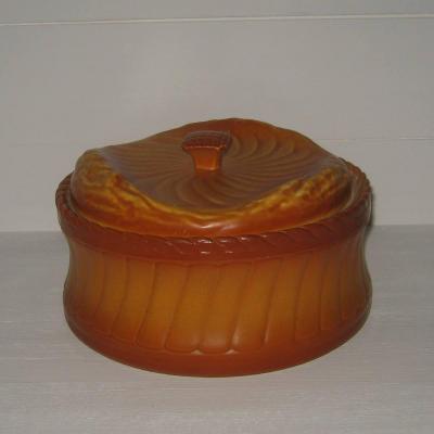 Grande ancienne terrine pâté en croûte trompe l'oeil représentant un pain brioché