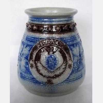 Vase ancien grès d'Alsace de Hubert Krumeich Remmy Oberbetschdorf décor blasons