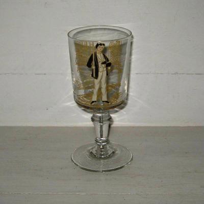 Ancien verre émaillé à pied souvenir de 1er communion
